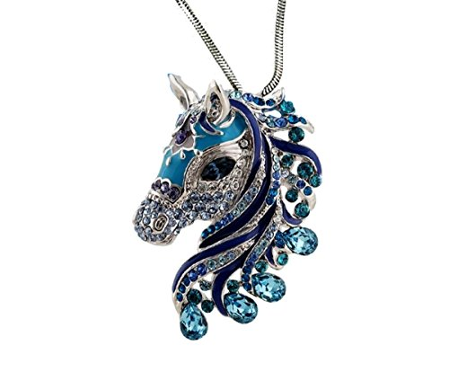 DianaL-Boutique-Beautiful-Horse-3D-Pendant-Necklace-Enamel-Crystals-24-Chain-Gift-Boxed-Fashion-Jewelry