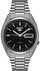 Seiko Men's 5 Automatic SNXF07K Silver Stainless-Steel Automatic Watch with Black Dial
