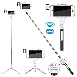 Zonman® Extendable Selfie Stick + Mini Led Light Portable Pocket Spotlight with Built-in Wireless Bluetooth Remote Shutter Metals Rod 4 Mode Adjustable Phone Holder for iPhone 6 iPhone 6 Plus 5 5s Samsung Galaxy S4 S5 Android(Black2)