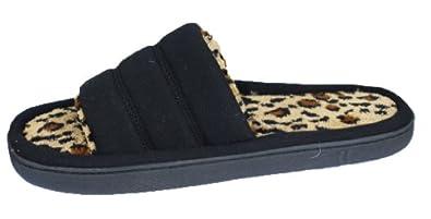 Isotoner Women's One Banded Comfort Slipper, 7.5-8 Black/Cheetah