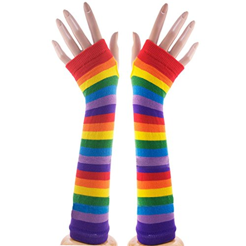NAVA Colorful Rainbow Stripes Arm Warmer Fingerless Knit Gloves