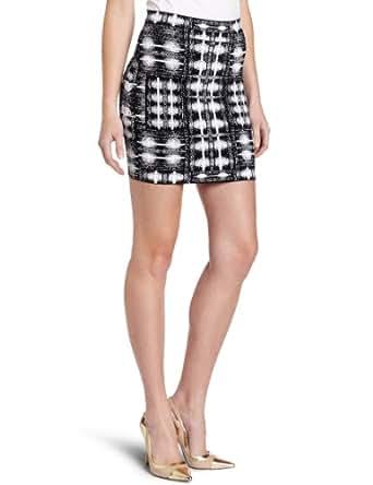 BCBGMAXAZRIA Women's Simone Lkat Splash Mini Skirt, Black/Comb, Small