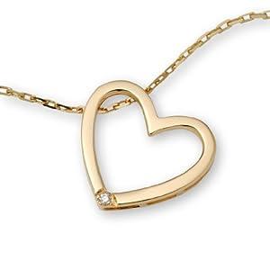 Miore 9 Karat (375) Gelbgold Halskette 45 cm mit Herzanhänger und Brillant - Weiß M0836CY9