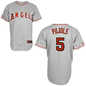 Albert Pujols Jerseys: Los Angeles Angels of Anaheim Adult Road Grey #5 by Majestic