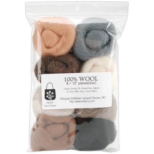 "Review 12"" Wool Roving 8-Pack: Furry Friends (2oz)"