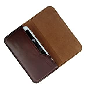 i-KitPit : Genuine Leather Flip Pouch Case Cover For iPhone 5 / 5S (BROWN)