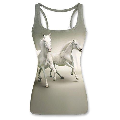 3D Print white horse pattern Tank Top for Women-XL