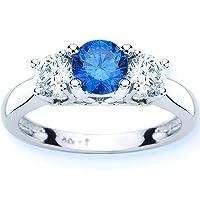 14K White Gold Round 3 Stone Blue Diamond and White Diamond Ring (1.50 cttw)