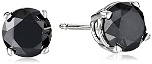 2 cttw Black Diamond Stud Earrings 14k White Gold