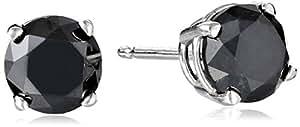 2 cttw Black Diamond Stud Earrings 14k White Gold