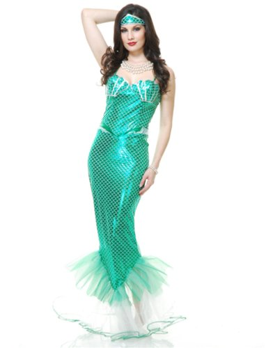 Womens Emerald Mermaid Halloween Costume
