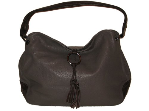 Soft Italian Leather Ring Detailed Shoulder Bag Grey  &  Brown