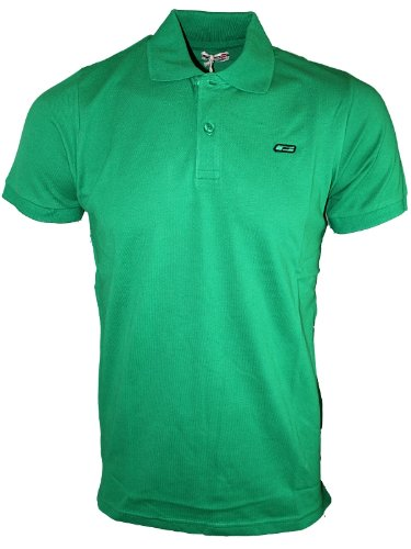 Mens Kelly Green Jack & Jones Jeans SOLID Branded Polo Neck T-Shirt Top Size S