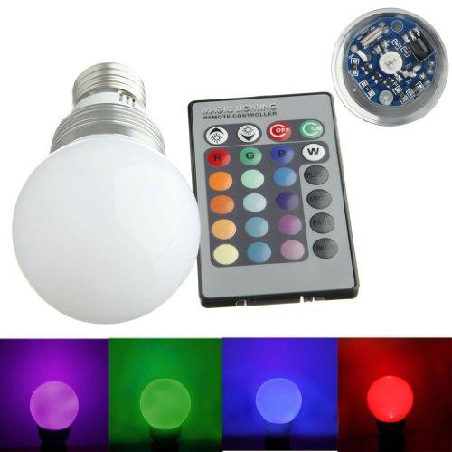 forepin E27 3W LED RGB Lampe Birne SMD LEDs LED farbwechsel Globeform Licht mit IR-Fernbedienung (220lm, AC 85 - 265V, 60 X 114mm) - 16 multicolors inklusive - Ferbedienung Lich