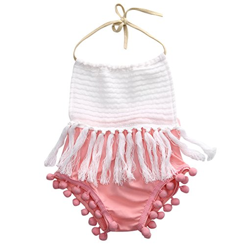 Baby Girls Halter Backless Splice Tassels Pompom Bodysuit (90(12-18M))