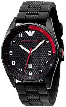 Emporio Armani Men's AR5892 Sport Quartz Rubber Strap Black Dial Watch
