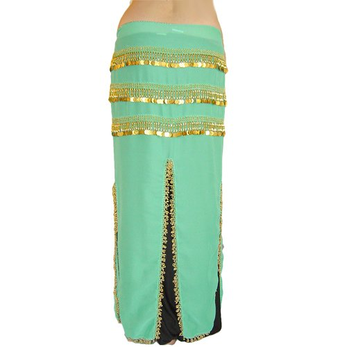 Long Turquoise Hip Scarf Skirt with Gold Coins and Gold Beads
