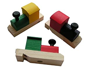 Wooden Painted Train-Shaped Whistles (1 dz)