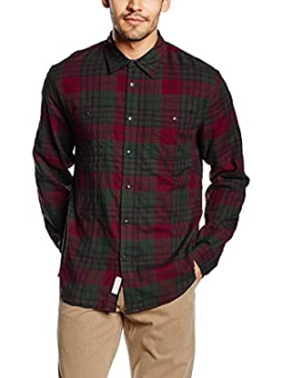 Dockers Camisa Hombre Wrinkle Twill (Verde Oscuro / Rojo)