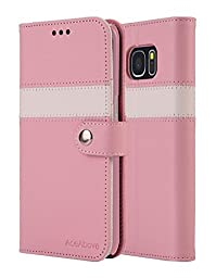 AceAbove Kickstand Feature Wallet Case [Ultra Slim]Premium PU Leather Flip Cover &  Case for Samsung Galaxy S7 Edge (2016) - Pink