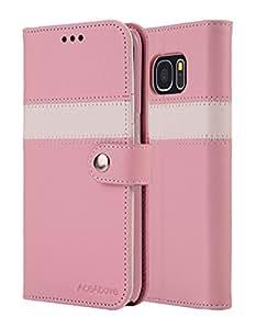 Galaxy S7 Edge Case, ACEABOVE [Kickstand Feature] Samsung Galaxy S7 Edge Wallet Case [Ultra Slim][Pink] Premium PU Leather Flip Cover Flip Case for Samsung Galaxy S7 Edge (2016)