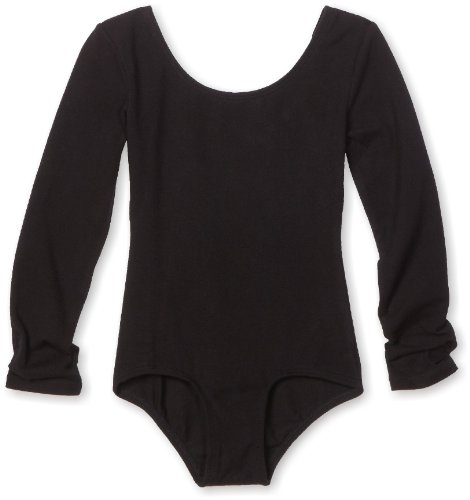 Danskin Big Girls' Long Sleeve Leotard, Black, Medium (8-10)
