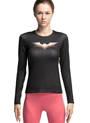 Cody Lundin® Donna Manica Lunga T-Shirt,Sport Fitness Running Yoga Danza Compressione Maglietta, Supereroe pipistrello Long Sleeve Shirt (L)