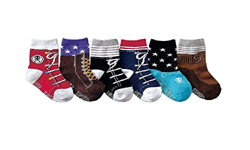 Baby Boys' 6 Pack Ankle Shoe-Like Trainer Socks One Size (1 2 3 Years Old) Graphic front-850563