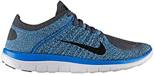 Nike Men's Free 4.0 Flyknit Running Shoe (Black, Photo Blue, Dark Grey) Sz. 7.5