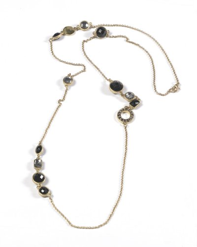 Long Golden Chain Necklace with Black Beads