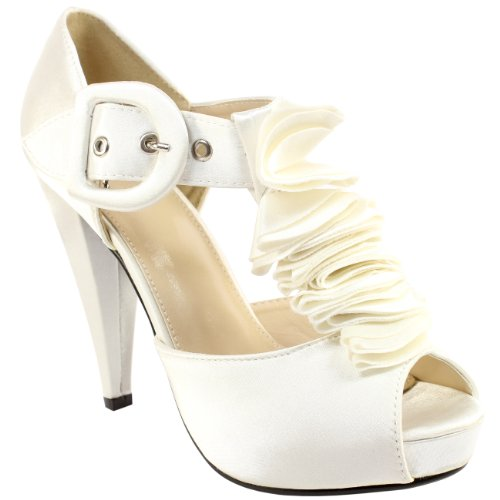 Womens Ruffle Satin High Heel Shoes Ivory