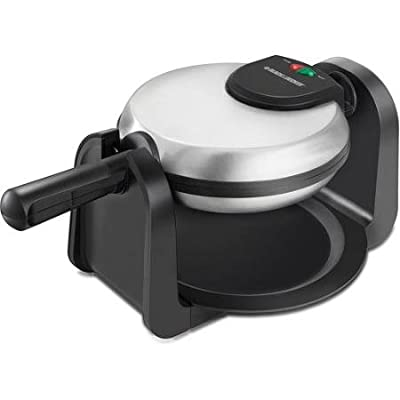 Black & Decker Rotary Waffle Maker Features a Foldable Handle and a Vertical Compact Design