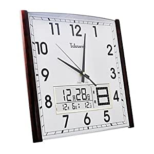 ... Perpetual Calendar Imitation Wood Grain Coating Super Mute Wall Clock