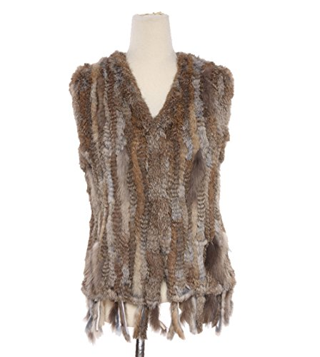 Qiudu Women's Natural Knitted Rabbit Fur Vest With Tassels Nature Brown 2XL
