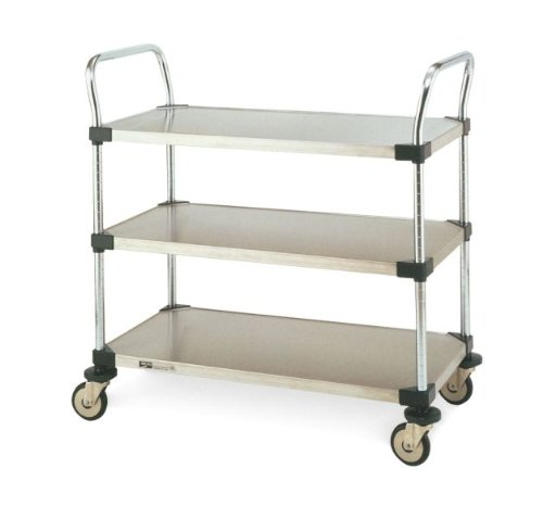 Metro MW Series Stainless Steel Utility Cart, 3 Shelves, 375 lbs Capacity, 24