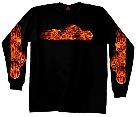 Hot Leathers Hell Bike Long Sleeve T-Shirt (Black, Large)