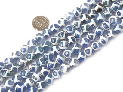 10mm round faceted gemstone blue fire agate beads