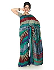 Designersareez Women Bhagalpuri Silk Printed Multicolor Saree With Unstitched Blouse(1304)