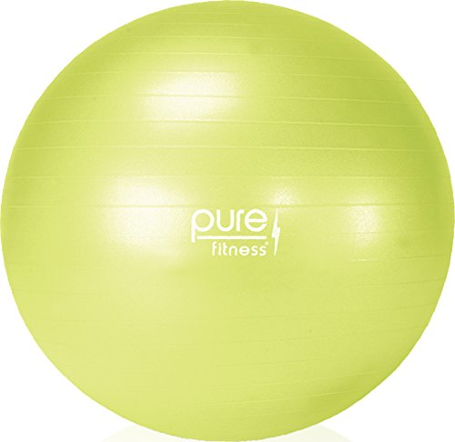 Pure Fitness Anti-Burst Core Exercise Stability Ball with Hand Pump, 55 cm, Lime
