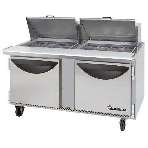 """Victory Refrigeration Value Line VUR-5-24BT """"Value"""" Series 60"""" Two Door """"Mega Top"""" Refrigerated Sandwich Prep Table - 24 Pan"""