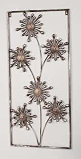 Rectangular Bronze Flower Decorative Wall Art, 33