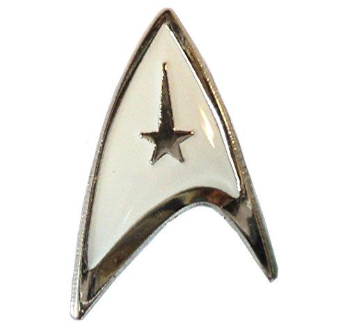 STAR TREK Starfleet Insignia smalto bianco logo DELTA Shield Badge 20mm