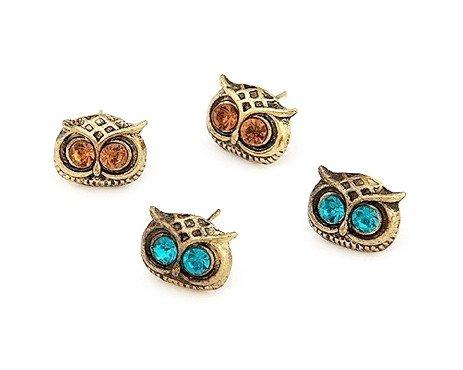 2FOR1 Ser Neue Art populäre Retro Vintage Schmucksache Bronze Vintage niedlichen blau und amber Eye Bronze-Eule Ohrstecker Ohrringe