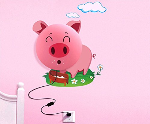 Fashion&Online New Fashion DIY 3D Wallpaper And Wall Decoration Design Lampshade Warm White Light Novelty Cartoon Wall Stickers Home Room Decor Decoration LED Night Light Lamp for Kids' Bedroom (Smile Pink Pig)