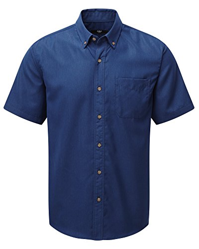 Cotton Traders Plain Soft Touch Shirt Mens Hip Short Sleeves Collared Button Up French Blue XL