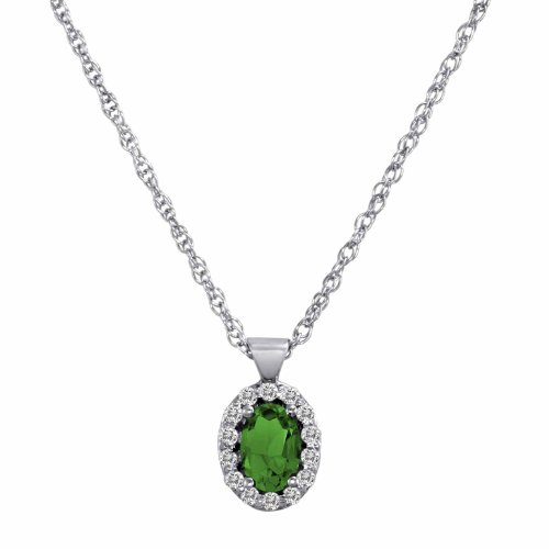DivaDiamonds Sterling Silver Oval Emerald and Diamond Pendant w/18 Inch Sterling Silver Chain (3/4 cttw, F-G, VS)