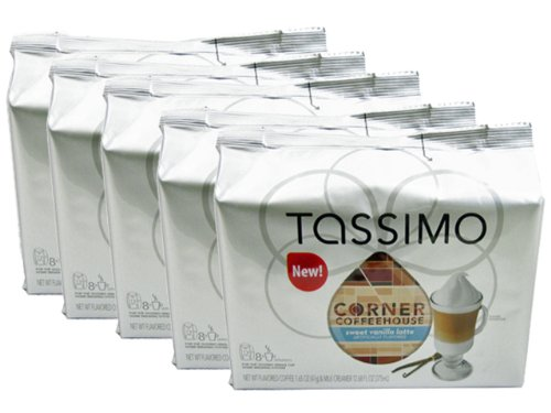 Tassimo T-Discs: Corner Coffeehouse Sweet Vanilla Latte T-Disc Pods (Case of 5 packages; 80 T-Discs Total) (Tassimo Vanilla Coffee compare prices)