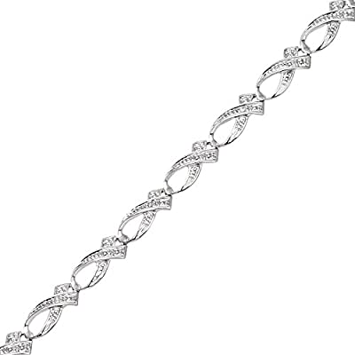 Naava 9ct White Gold Pave Set Diamond Ribbon Link Bracelet