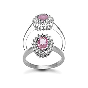Jewelco London 9 Carat White Gold 23pts Diamond & Pink Sapphire Ring