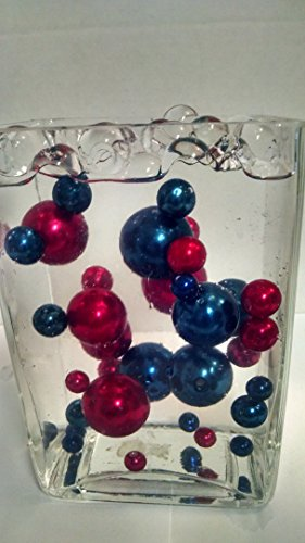 Easy Elegance Wedding Centerpiece and Decoration - Red & Cobalt Blue Pearl Beads -includes 12 gram packet JellyBeadZ Water bead gel (Jelly Beadz Blue compare prices)